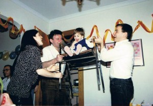 Carmeli Lemberger is two years old! Yossi with Tami and Dani celebrating in their home, Fair Lawn, NJ