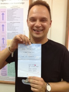 Dima with his invitation for the advanced levels